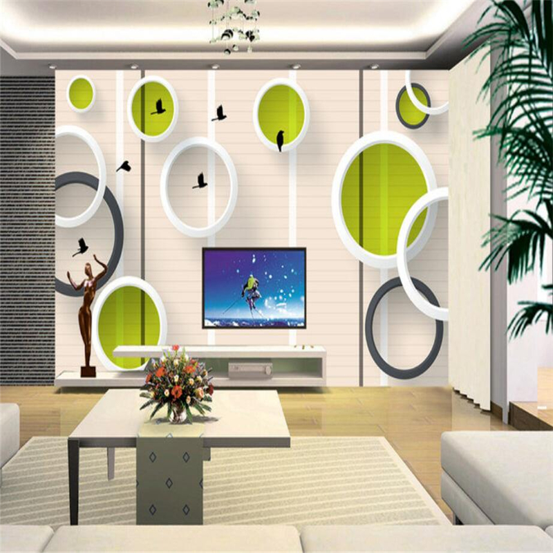 Modern Wallpapers 3D Stereoscopic Circle Birds Photo Wallpapers Wall Murals for Living Room Background Wall Papers Home Decor shinehome sunflower bloom retro wallpaper for 3d rooms walls wallpapers for 3 d living room home wall paper murals mural roll