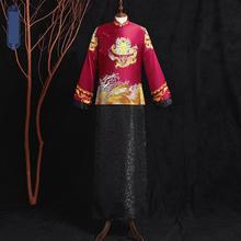 Bridegroom Marriage Suit Burgundy Satin Cheongsam Qipao Vintage Button 2pcs Wedding Dress Classic Exquisite Elegant