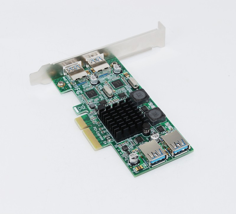 Date 4 Ports USB 3.0 PCI-E Carte D'extension Adaptateur PCI Express USB3.0 5 Gbps Double Canal Pleine Vitesse pour Serveur VR Matchs En Direct