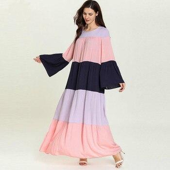 Camisón largo de algodón de manga larga camisones de talla grande Patchwork ropa de dormir árabe vestido de noche vestido para casa de gran tamaño ropa de noche