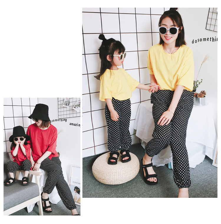 Mother Daughter Clothes 2018 New Summer Baby Girl Lantern Pants Family Look Kids Dot Printed Casual Trousers Pant Mosquito Pants 18