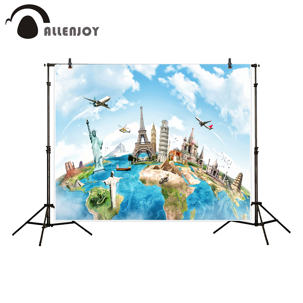 Allenjoy background for photo studio world travel sky air plane building backdrop portrait shooting newborn photocall photobooth allenjoy background photography pink birthday table flower cake wood backdrop photocall photobooth photo studio
