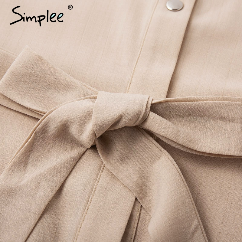 Simplee Elegant lace mesh embroidery women A-line dress Long sleeve button office ladies dresses Solid sashes summer shirt dress 14