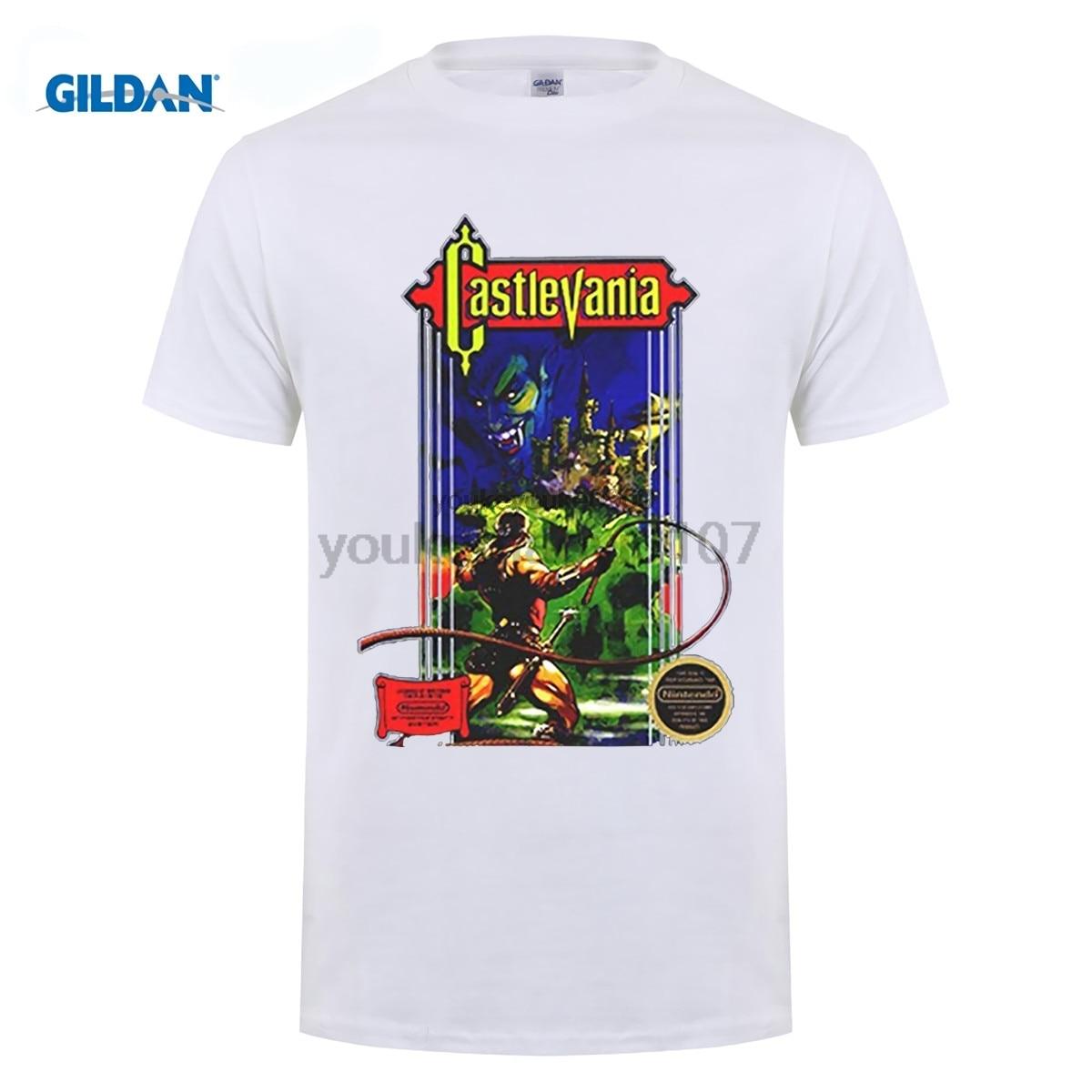GILDAN Castlevania NES Retro Video Game T Shirt Short Sleeve Style O-Neck Tee Shirt T Shirt Men Loose Size T-shirt