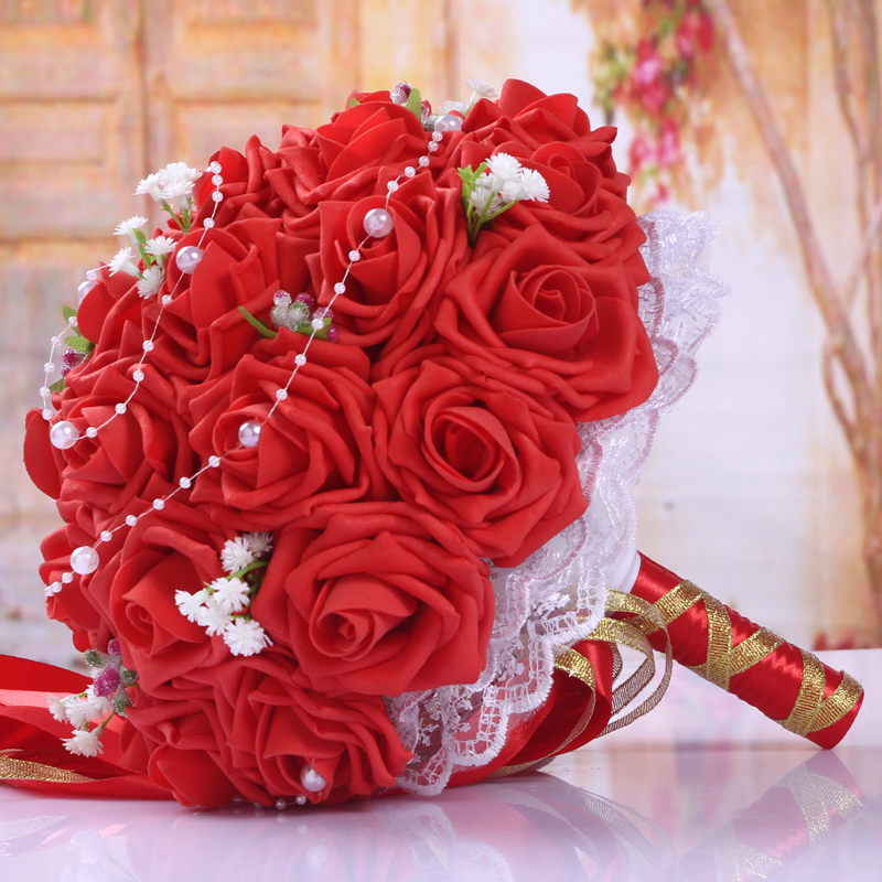 BQ05 (5)  Synthetic Lady Marriage ceremony Bouquets for Bridals Rose Flowers De Mariage Bridal Bouquet Marriage ceremony Holder Bouquet Peonies Equipment HTB1Q0