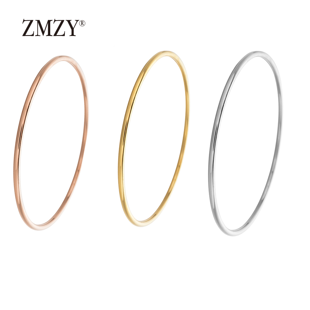 ZMZY Stainless Steel Classic Round Single Circle Bangle Simple Closed Thin Wire Charm Bracelets for Women Jewelry Gift circle