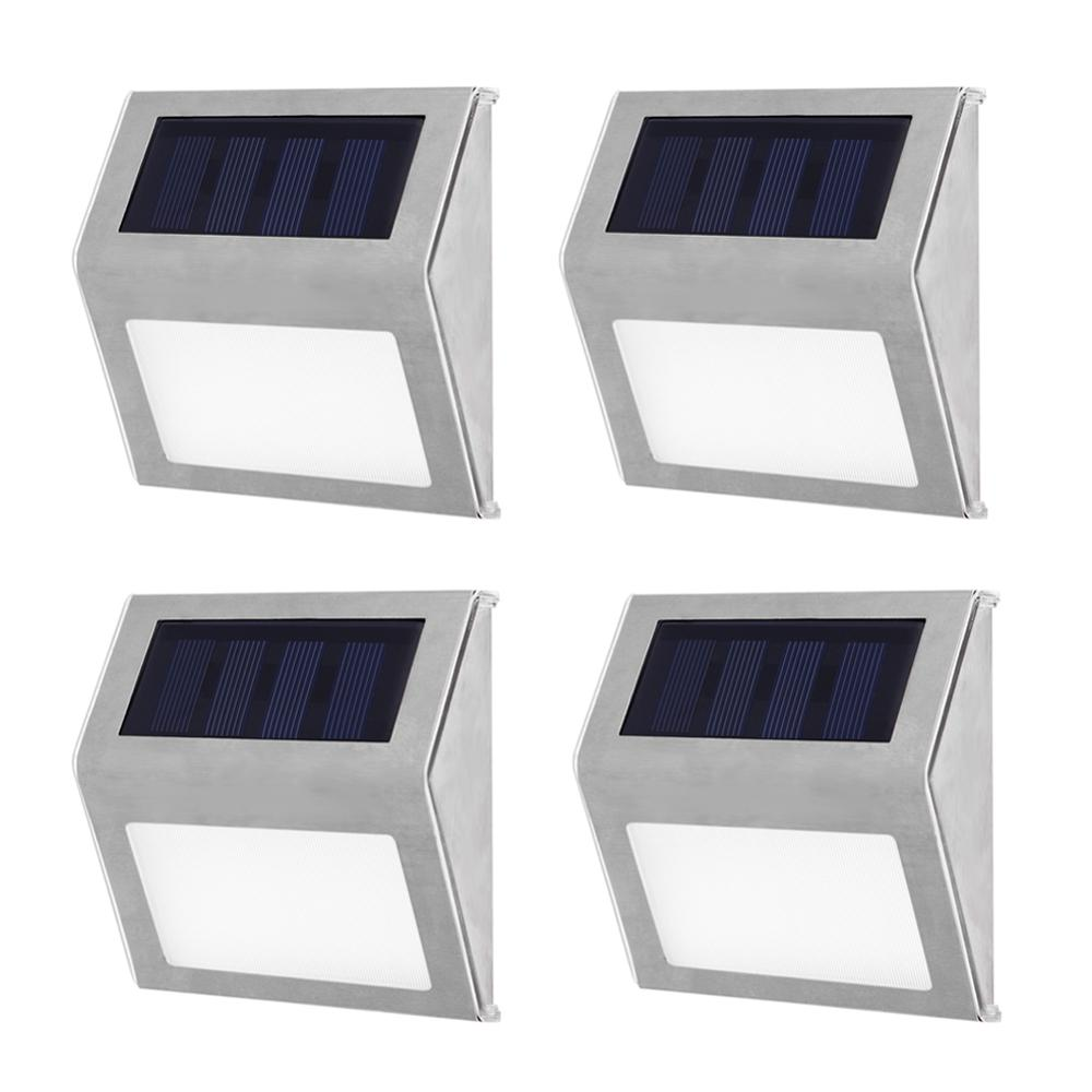 1-4pcs Solar Light 3LED Outdoor Garden Pathway Stairs Lamp Waterproof Stainless Steel Energy Saving LED Solar Wall Lamp