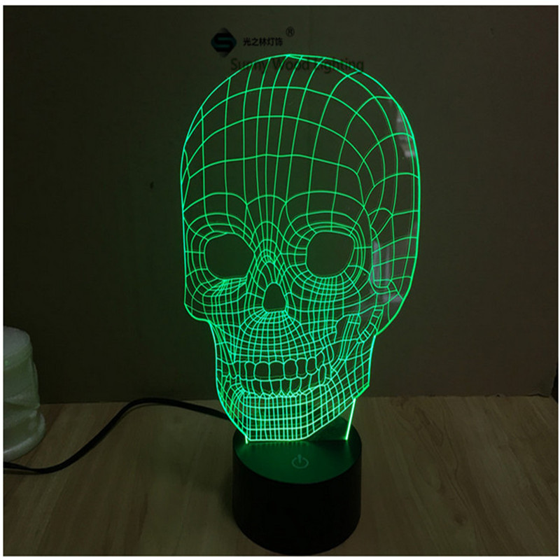 skull touch switch LED 3D lamp ,Visual Illusion 7color changing 5V USB for laptop, desk decoration toy lamp