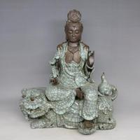 Antique Old Chinese porcelain God Buddha statues&Lion,Buddhism supplies,Home Decoration collection & adornment, Free shipping