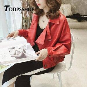 Image 3 - Spring 2019 Red Color Hongkong Style Women Pu Leather Jacket Fashion Locomotive Bf Female Coat