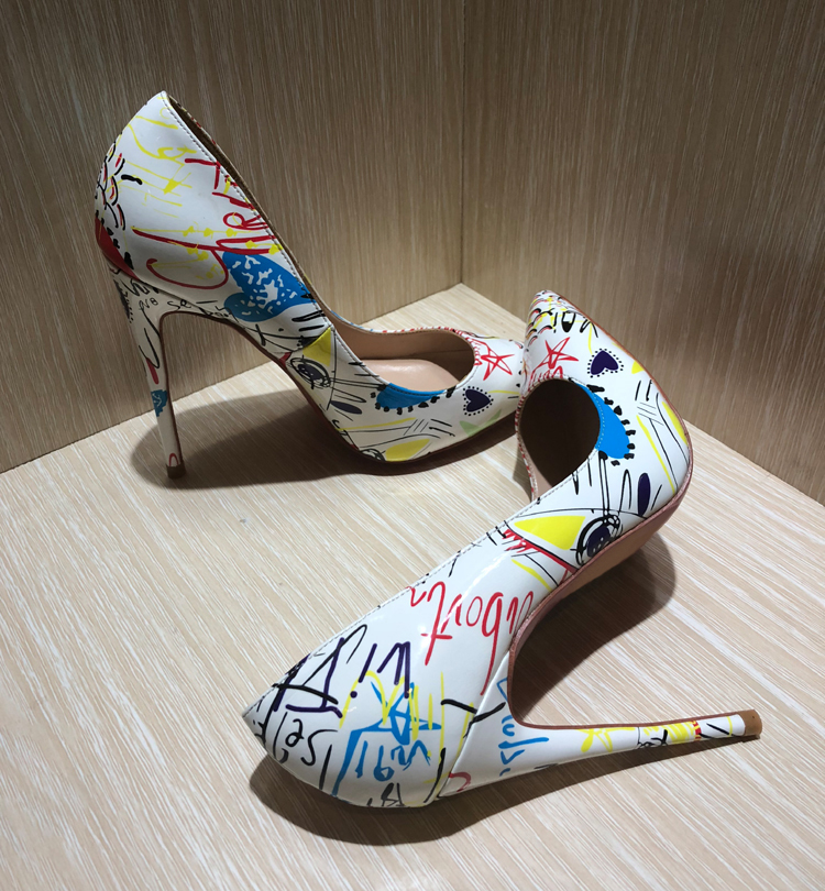 Chaussures Femmes Shown Nouveau Sexy Stiletto De Taille Sapato Cuir As Shown Feminino Talons as Blanc Super Pompes Hauts Graffiti Mariage Verni Grande 1rIr4O