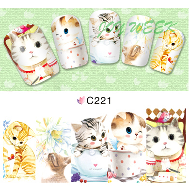 Water sticker for nails art all decorations sliders cute cat kitty nail design decals manicure lacquer accessoires polish