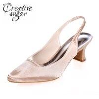 Projeto conciso Creativesugar pontas slingback toe vestido de cetim sapatos de festa à noite baile de dança mulher med saltos baixos branco roxo