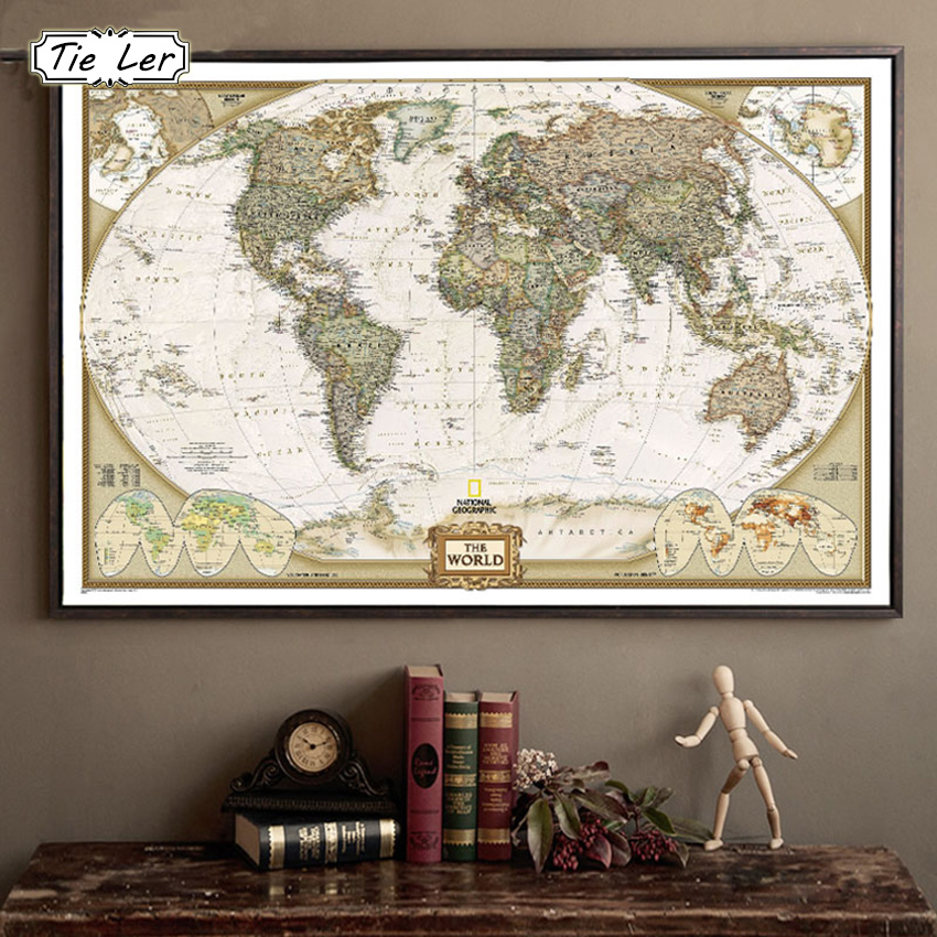 tie ler vintage retro matte kraft paper world map antique. Black Bedroom Furniture Sets. Home Design Ideas