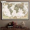 TIE LER Vintage Retro Papel Kraft Mate Mapa Del Mundo Antiguo Poster Etiqueta de La Pared Decoración Hogar 72.5*47.5 CM