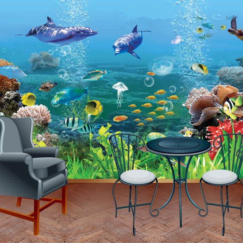 Lovely Custom 3D Wallpaper HD Underwater World Dolphin Tropical Fish Photo Wall  Mural Classic Living Room Kids Bedroom Papel De Parede In Wallpapers From  Home ...