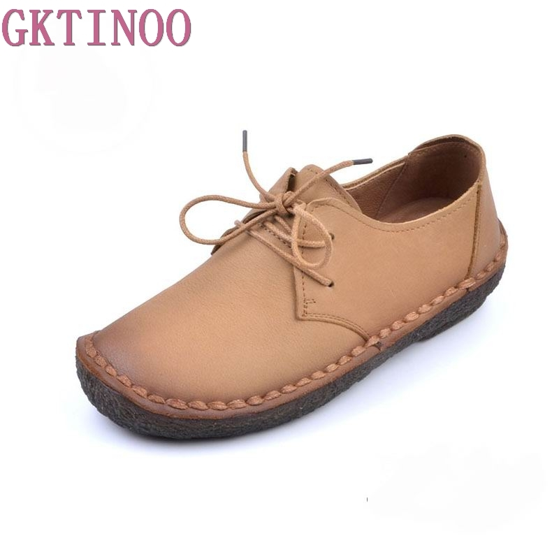 GKTINOO Genuine Leather Women's Flat Shoes 2018 Fashion Soft Lace Up Women Flats Loafers Comfortable Woman Casual Shoes