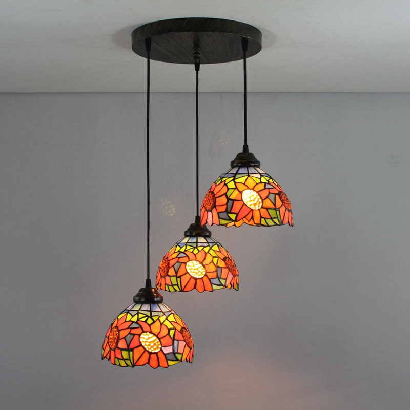 Green sunflowers 3 heads Stained glass Western style Restaurant Pendant Lights 110-240V Dia43CM bar Three pandant lamps E27