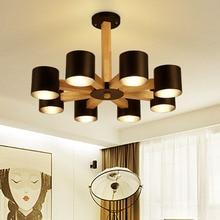 цены Wooden Chandelier Hanging LED Pendant Lamp wood Metal Pendant Lighting Fixture Pendant Wine Barrel Chandelier