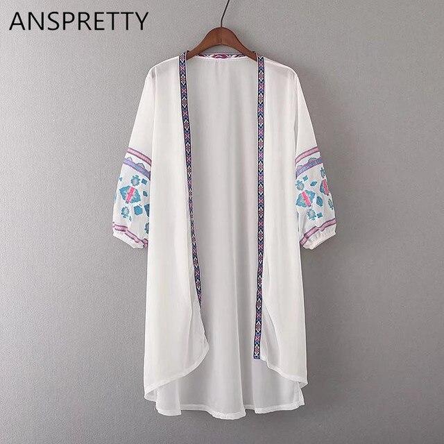 Anspretty Apparel Embroidery Geometric Kimono Cardigan Long Shirt
