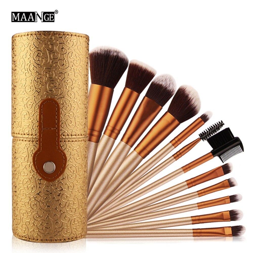 цена MAANGE 12pcs Professional Cosmetic Makeup Brush Set Beatuy Power Foundation Make Up Brushes Tool Kit + Holder Case Cup maquiagem