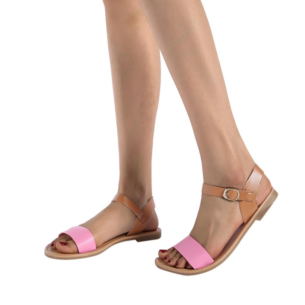HTB1Q00tQwHqK1RjSZFgq6y7JXXaO SAGACE Women's Sandals Solid Color PU Leather Sandals Women Fashion Style Flat Summer Women Shoes Women Shoes 2019 Sandals 41018