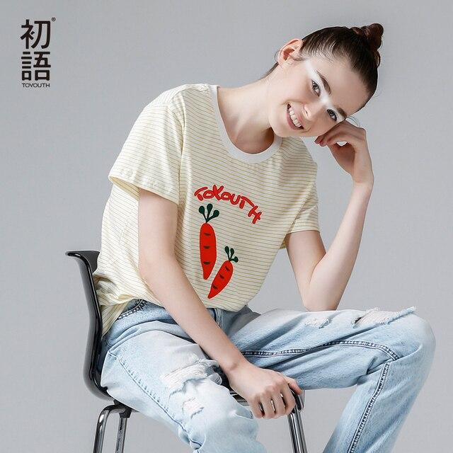 Toyouth/футболка с принтом 2019, хлопковые футболки с короткими рукавами и круглым вырезом, женская футболка, летняя полосатая футболка с рисунком, топы