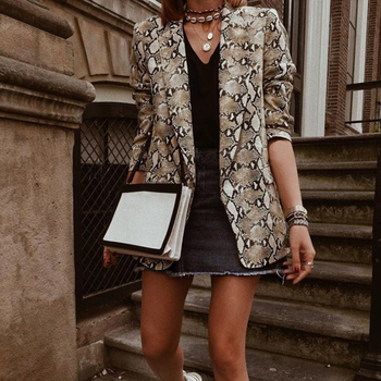Women Blazers And Jackets 2018 Snake Print Women Blazer Mujer Pockets Notched Collar Autumn Long Sleeve Coat Female Outerwear