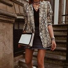Women Blazers And Jackets 2019 Snake Print Women Blazer Mujer Pockets Notched Collar Autumn Long Sleeve