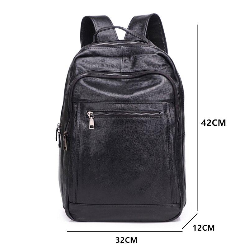 Luxe Koe Lederen Grote Capaciteit Rugzak Reistas mannen Casual Minimalistische Computer Bag Volnerf buiten echt leer - 2