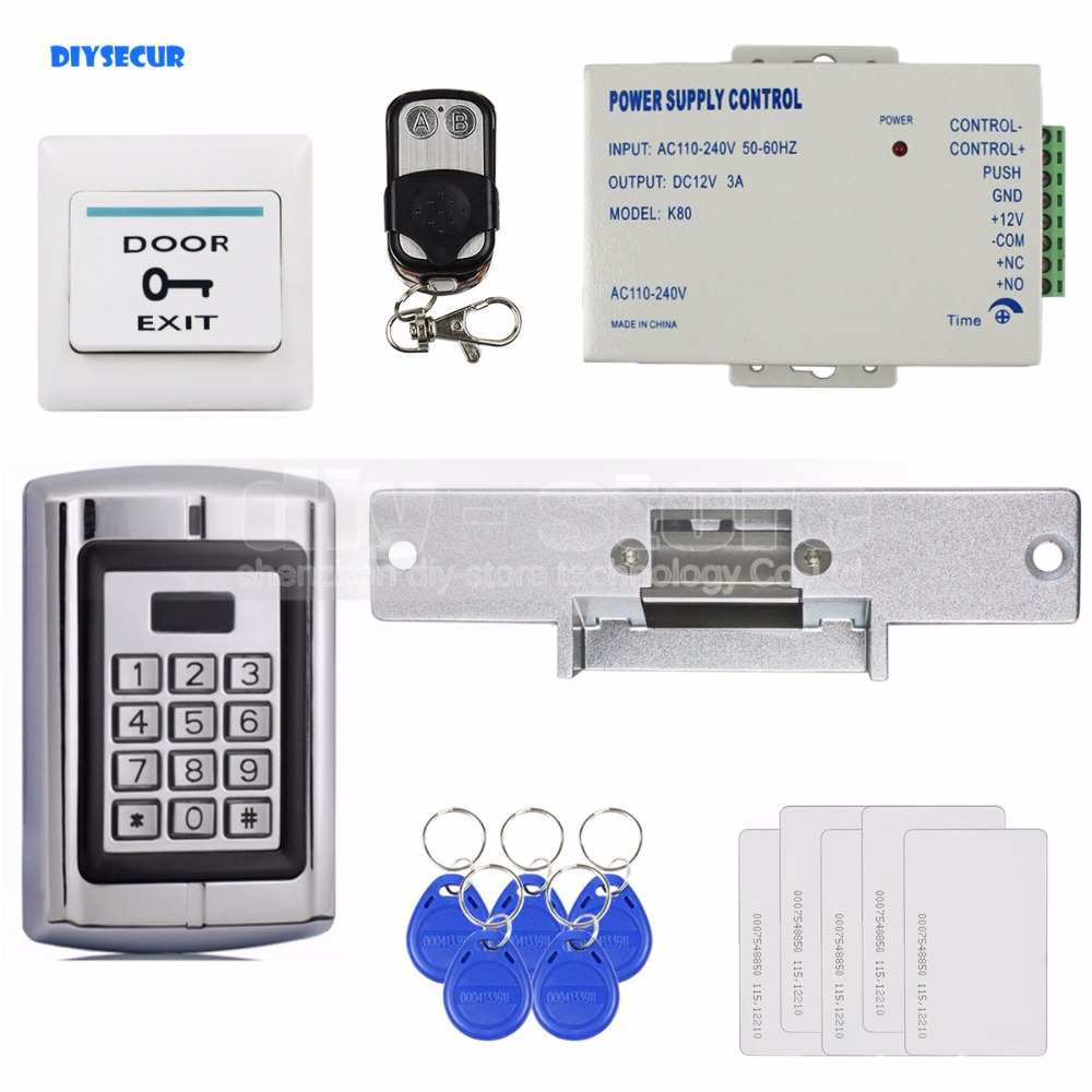 DIYSECUR Remote Control RFID 125KHz Metal Keypad Door Access Control Security System Kit + Strike Door Lock BC2000 diysecur touch button rfid 125khz metal keypad door access control security system kit magnetic lock for home office use