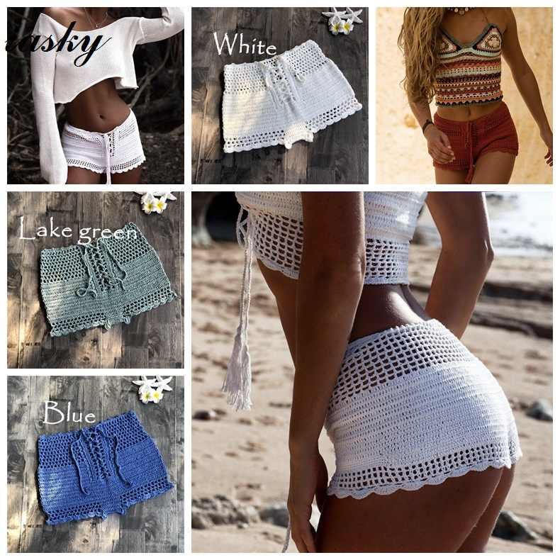 f750e4737589a IASKY New crochet women shorts 2019 sexy beach women Bikini swimsuit cover  ups pants Beachwear