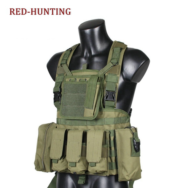 New RRV Tactical Combat Vest Airsoft Molle Hydration Combat Chest Rig Water Bag Vest W/ AK Mag Pouch Adjustable Hunting Vest