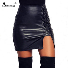 2019 Women 4XL 5XL PU Leather Mini Skirt High Waist Plain Flared Skirt Short Sexy Party Strap Hem Hip Split Fork Buttocks Skirt недорого