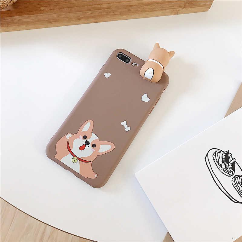 Вельш-корги чехол для iPhone 7 Чехлы ультратонкий мультяшный щенок мягкая игрушка из ТПУ чехол для iPhone 6 6s 7 8 Plus X XR XS максимальный чехол