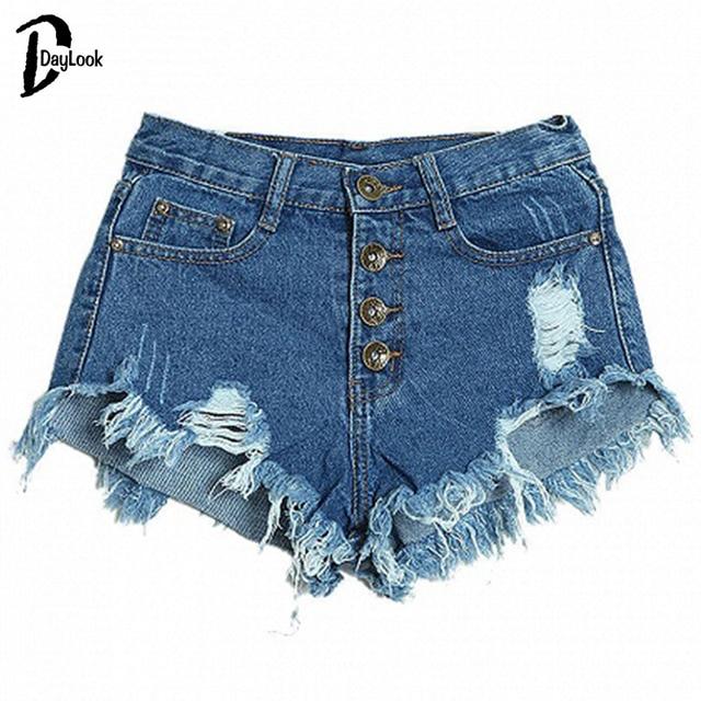 Daylook 2016 verano rasgado agujero dobladillo bolsillos mid cintura mini shorts hot denim jeans nuevas mujeres tanga pantalones cortos de mezclilla de moda