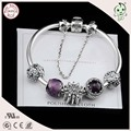 Hot Sale High Quality 100% 925 Sterling Silver  Snake Bracelet With Daisy Charm And Purple Murano Charm