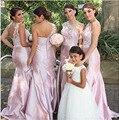 Hot Sale Vestidos de madrinha 2016 Elegant One-Should Mermaid Appliques Sleeveless Scalloped Satin Bridesmaid dresses long