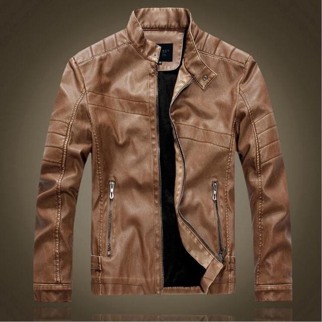 74f5e2105c17 2016 winter Brand PU Leather Jacket Men Fur Lined Leather Coat Jackets  Bomber Leather Biker Jacket
