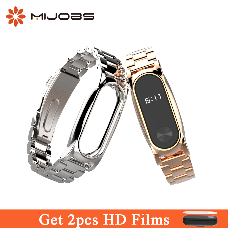 Mijobs Metal Strap for Mi2 Strap Correa Stainless Steel xiomi Accesorries Watch Band Bracelet for Xiaomi Mi Band 2 Smart Watch