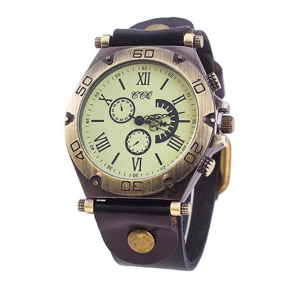 CCQ 高級ブランドのヴィンテージ革腕時計メンズレディース腕時計レディースドレスクォーツ時計時計レロジオ Masculino Felojes Saat