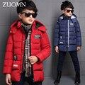 Детская Зима Большой Мальчик Куртки Snowsuit Мальчиков Парки Вниз Пальто Одежда Для Зимнего Верхней Одежды Дети Потепление Пуховик GH226
