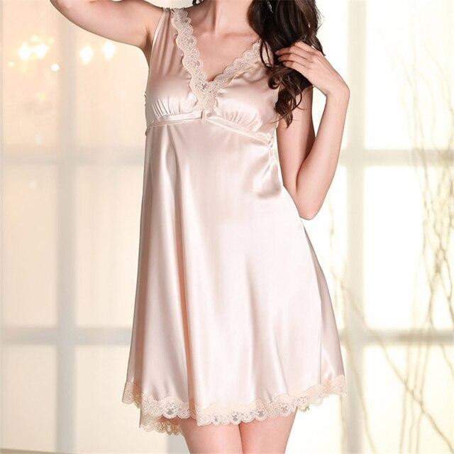 New Arrivals Silk Nightgowns Spaghetti Strap Lady Dresses Princess Sleeveless Sleepwear Lace Home Dress Sexy Sleep Lounge #HH53