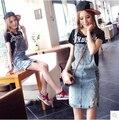 Plus size saias das mulheres do vintage 2016 verão estilo coreano vestido saia feminina denim saia jeans buraco fino suspender saia A0422