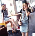 plus size vintage skirts women 2016 summer style korean vestido saia feminina denim jeans skirt thin hole suspender skirt  A0422