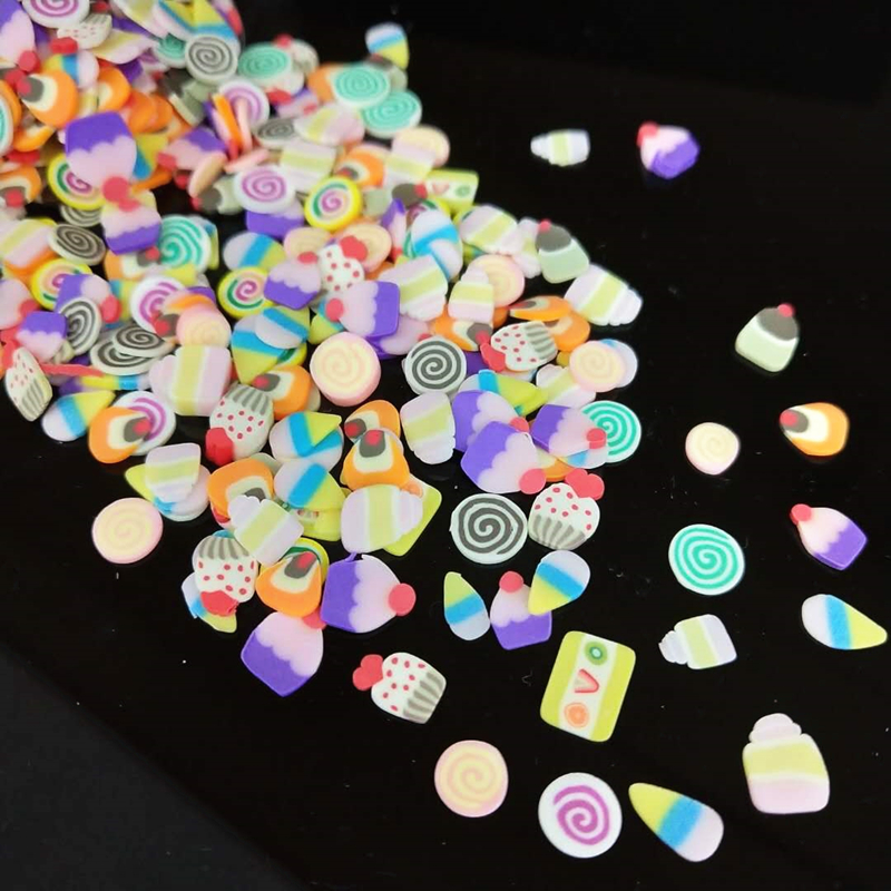 1000pcs/lot Polymer Hot Clay Sprinkles Colorful Cakes Candy Cute Dessert For DIY Crafts