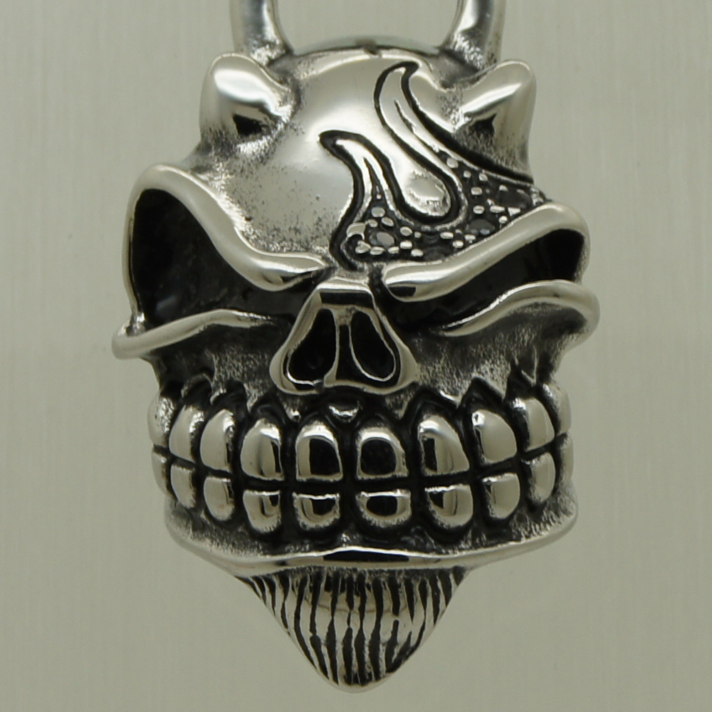 96ab55679 القرن النار الأسود cz حية الجمجمة 316l الفولاذ الصلب الثقيلة قلائد الرجال  المجوهرات
