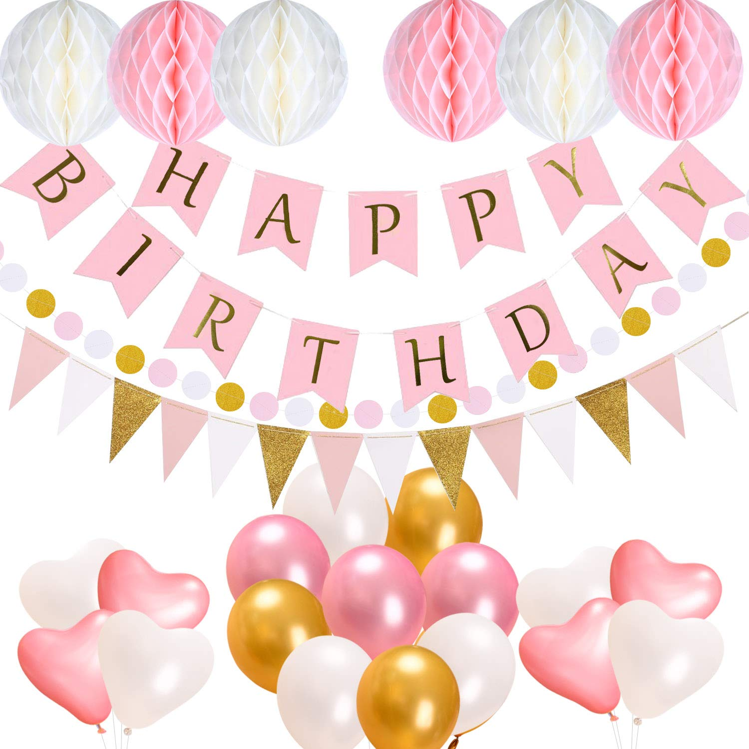 METABLE 1SET Acelife Happy Birthday 13 Letters Banner Flags, Balloons, Triangle Bunting Tissue Paper Pompom Balls