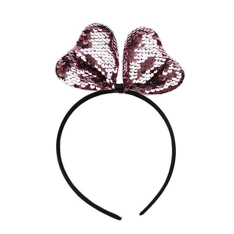 เลื่อมหญิง Headband 2018 ใหม่เมาส์แฟชั่นหูผม Hoop Sequin Bows Headband เด็กอุปกรณ์เสริมวันเกิดของขวัญ