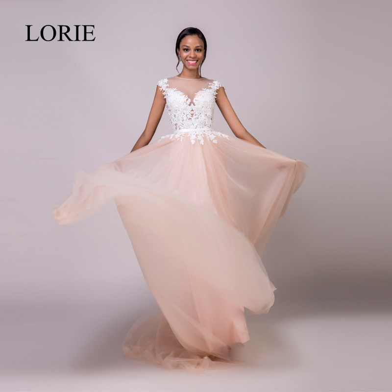 LORIE Nude Wedding Dress Beach Cap Sleeves Vintage Lace Top Sheer Illusion Vestido Novia 2018 Princess Tulle Bridal Dresses